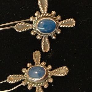 Sterling blue Maltese cross earrings